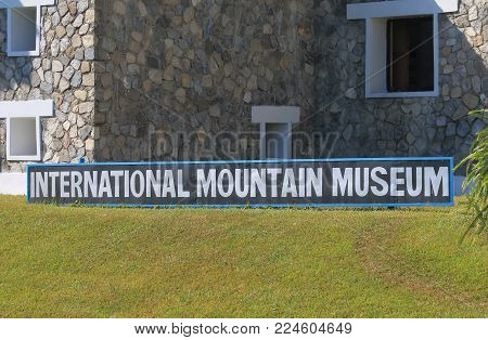 Pokhara Nepal - November 8, 2017: International Mountain Museum Signage In Pokhara Nepal.