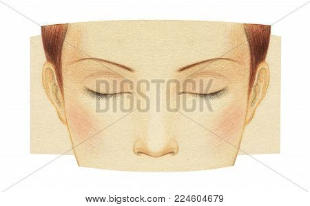 Fragment of the face of a young girl with closed eyes without makeup. Template for make-up. Graphic drawing with colored pencils on toned paper.