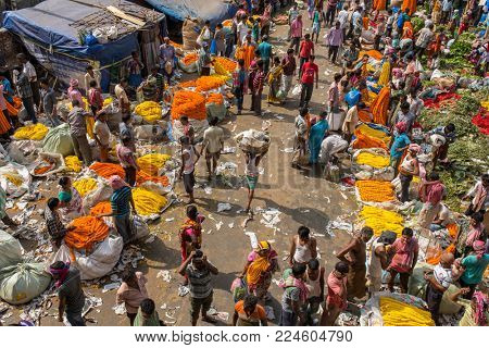 Kolkata, India - April 12, 2017: Top view on the Mullik Ghat Flower market in Kolkata. The market is more than 125 years old.