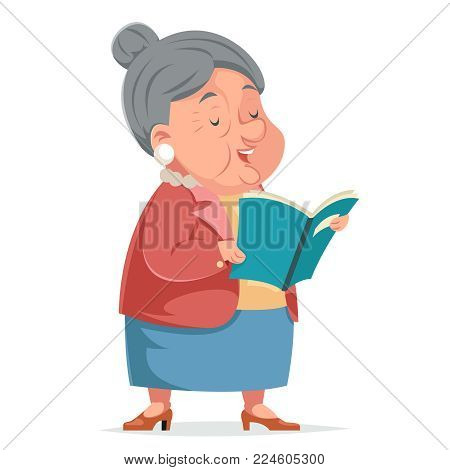 Book Reading Grandmother Old Woman Granny Adult Character Icont Cartoon Design Vector Illustration