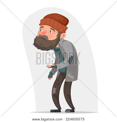 Homeless Bum Poor Male Character Beg Help Money Hand Isolated Cartoon Icon Design Vector Illustration