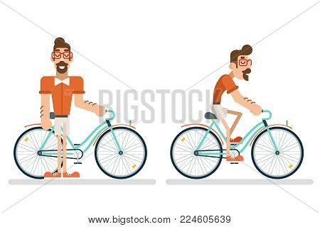 Ride Bicycle Geek Hipster ycling Lifestyle Travel Concept Planning Summer Vacation Tourism Journey Symbol Man Bike Flat Design Template Vector Illustration