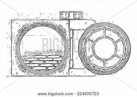 Cartoon vector doodle drawing illustration of open vault door with pile of gold ingots or bars inside. Business concept of success, wealth or treasure.