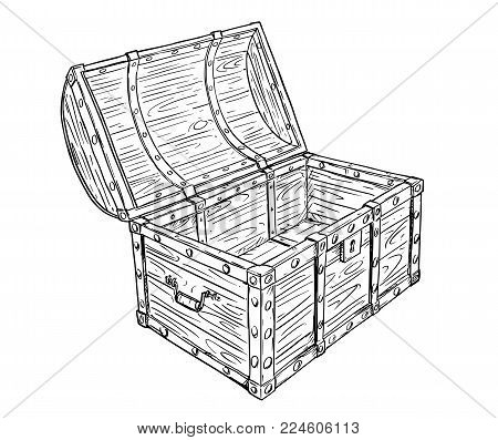 Cartoon vector doodle drawing illustration of old wooden empty open pirate treasure chest or trunk. Business concept of crisis and bankrupt.