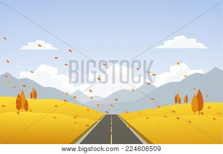 Vector illustration: Autumn hillside landscape with road and leaves fall.