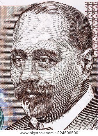 Stjepan Radic portrait from Croatian money - Kuna poster