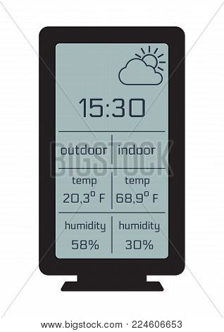 Home weather station widget. Weather station home equipment, indicated temperature in Fahrenheit degrees and relative humidity in percents indoor, outdoor. Wireless climate monitoring equipment