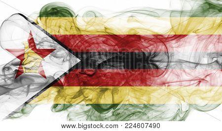Zimbabwe smoke flag isolated on a white background