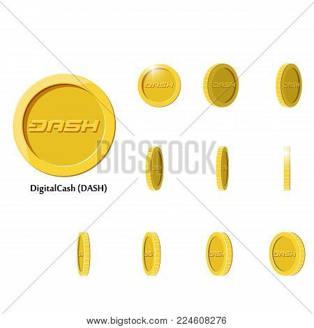 Gold Rotate dash Frames Set for Animation on Black and White Background. Flat vector