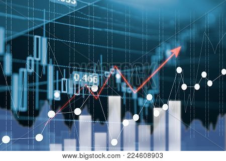 Digital Data Indicator Analysis On Financial Market Trade Chart On Led. Concept Stock Data Trade. Do