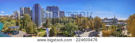 SOCHI, RUSSIA - OCTOBER 8, 2015: Panoramic view of the city of Sochi