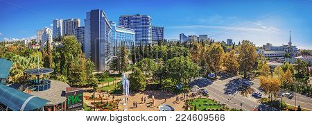 SOCHI, RUSSIA - OCTOBER 8, 2015: Autumn panorama of Sochi