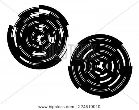 Design elements. Curved many streak. Abstract Circular Wireframe mesh logo element on white background isolated. Creative band art. Vector illustration EPS 10. digital for promotion new product