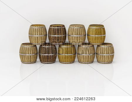 3D rendering. The series of barrels made of wood. Barrel for beer. Aging whiskey in oak barrels.