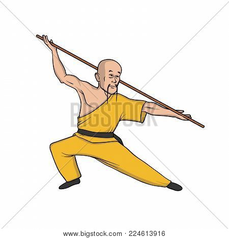 Shaolin monk practicing kung fu or wushu with pole. Martial art. Vector illustration, isolated on white background.