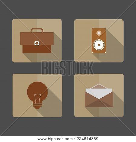 4 icons Business Bag Light Bulb Envelope Speaker