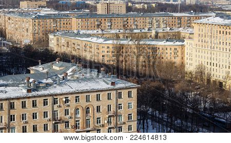 Panoramic view of the old residential neighborhood in the Gagarin district of South-Western part of Moscow.