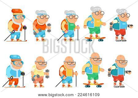 Fitness Granny Grandfather Adult Healthy Activities Old Age Man Woman Characters Cartoon Set Flat Design Vector illustration