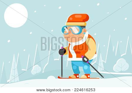 Skiing Grandfather Adult Skier Winter Sports Healthy Activities Old Age Man Cartoon Character Flat Design Vector illustration