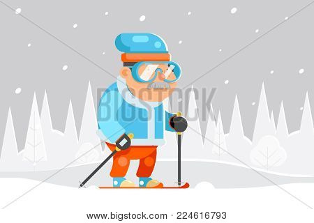 Granny Skiing Adult Skier Winter Sports Healthy Activities Old Age Female Cartoon Character Flat Design Vector illustration