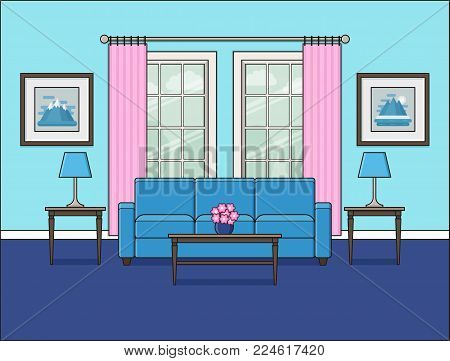 Living room interior with window. Linear room in flat design. Vector illustration. Outline background. Home space with furniture in line art style. Cartoon house equipment including sofa and table.