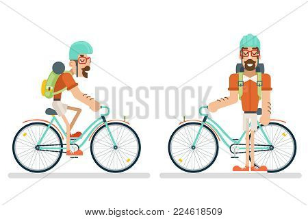cycling Travel Geek Hipster Lifestyle Ride Bicycle Concept Planning Summer Vacation Journey Tourism Symbol Man Bike Flat Design Template Vector Illustration