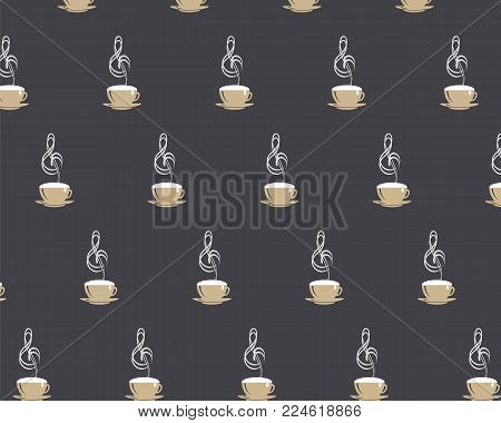 Seamless pattern with coffee cappuccino cup with steming music treble clef and white drop on black coffee stile background. Vector EPS10