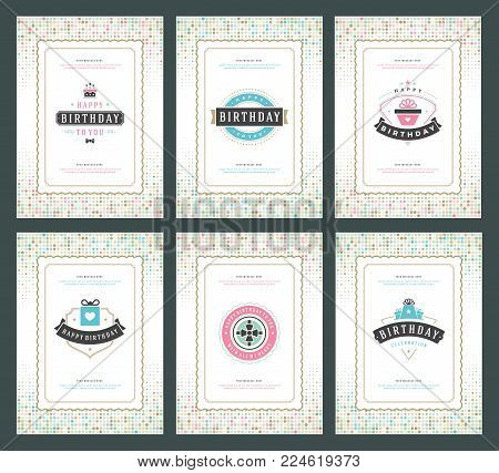 Happy Birthday greeting cards typographic design set vector illustration. Vintage birthday badge or label with wish message and halftone backgrounds.