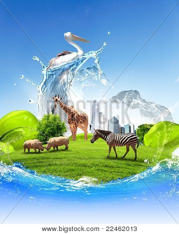 Nature, ecology and animals protection concept collage poster