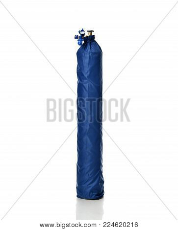 New Standard Helium Tank for Balloon inflation with Economy Regulator Fill Valve for Latex Balloons in blue case isolated on white background