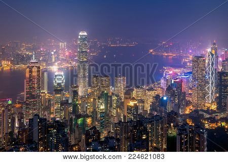 Hong Kong Downtown The Famous Cityscape View From The Victoria Peak The Famous Viewpoint In Hong Kon