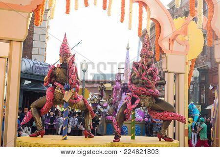 OSAKA, JAPAN - Oct 24, 2017: Parade show in Universal studios Japan. There are many tourists to visit Universal Studios Japan famous amusement park, Osaka city.