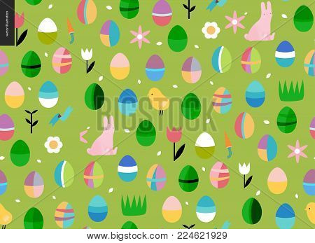 Seamless Easter pattern on the green background