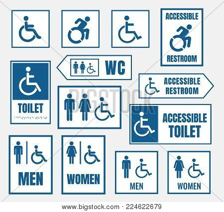 accessible toilet sign, restroom signs for disabled people