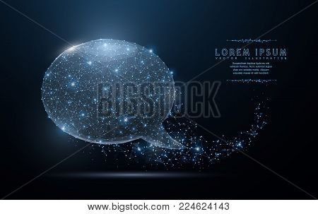 Bubble speech. Abstract polygonal wireframe mesh art with crumbled edge on blue night sky with dots, stars and looks like constellation. Concept illustration or background