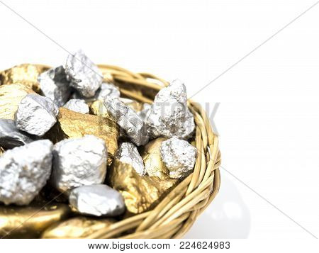 wicker tray full of gold nugget on white background, rich concept