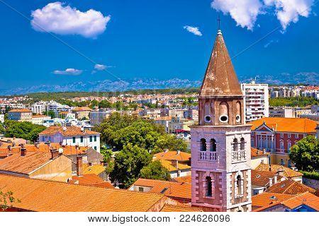 City of Zadar landmarks and cityscape view, Adriatic coastline in Dalmatia region of Croatia