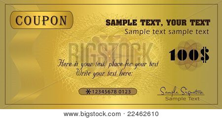 vector Coupon gold voucher