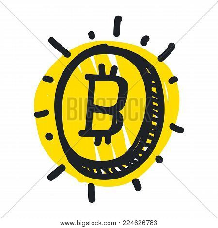 Vector visualization concept of electronic commerce. Hand drawing illustrations. Doodle sketch, Bitcoin sign icon