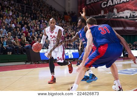 SAMARA, RUSSIA - DECEMBER 01: BC Krasnye Krylia guard Bracey Wright (34), with ball, is on the attack during the BC CSKA game on December 01, 2013 in Samara, Russia.