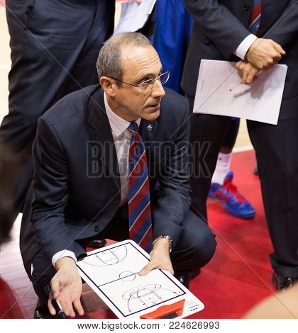 SAMARA, RUSSIA - DECEMBER 01: BC CSKA head coach Ettore Messina during a timeout of the BC Krasnye Krylia basketball game on December 01, 2013 in Samara, Russia.