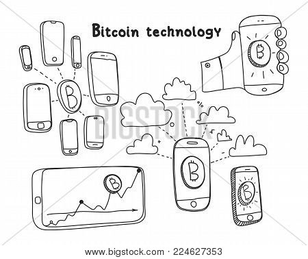 Vector visualization concept of electronic commerce. Mobile blockchain techtology payment transaction donation. Mining Bitcoin. Cloud technology. Hand drawing illustrations set. Doodle sketch