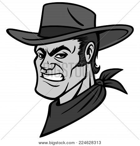 Cowboy Mascot Illustration - A vector cartoon illustration of a Cowboy Mascot.