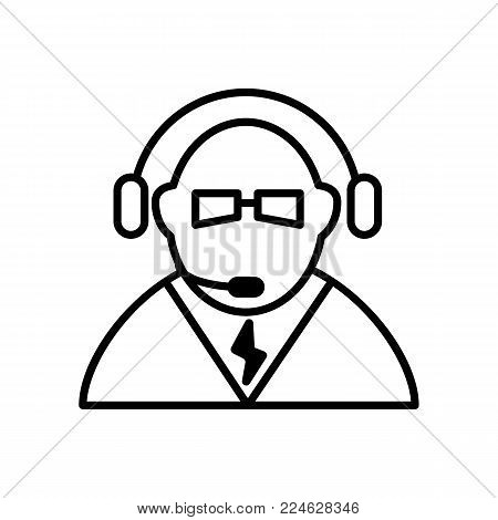Call center icon vector. Manager of call center, operator, support. Flat linear contour icon isolated on white. Eps 10.