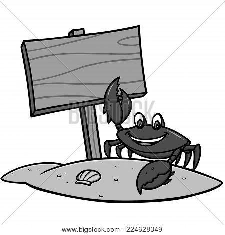 Crab Beach Sign Illustration - A vector cartoon illustration of a Crab with a Beach Sign.