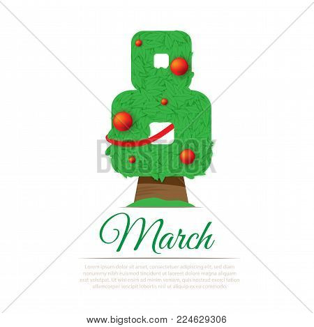 Women's day vector concept. 8 march holiday illustration. Green tree in eight number shape decorated with red balls. Postcard, poster, cover design. Isolated on white background.