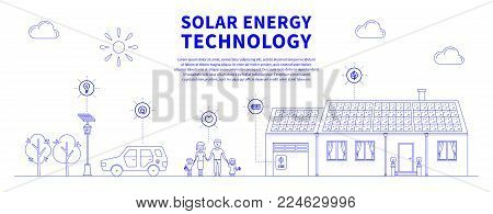 Solar battery system vector illustration. Eco power source line art concept. House, family, car and solar electricity system graphic design with sample text.