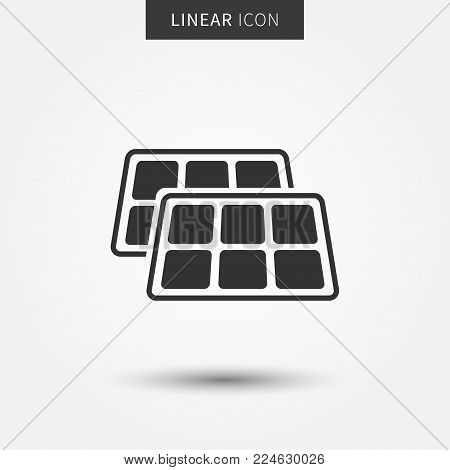 Solar panel vector icon. Sun panel battery for renewable energy concept.