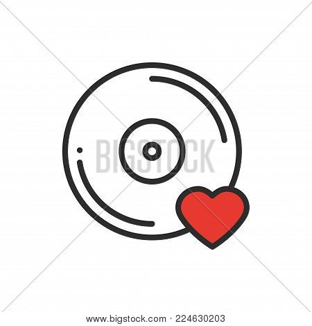 Vinyl line icon. Favorite song. Vinyl record disco dance nightlife club DJ disk party theme. Sign and symbol. Vector illustration