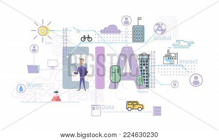 Environmental impact assessment, EIA. Assessment of the environmental consequences. Concept vector illustration in flat style, isolated on white background.